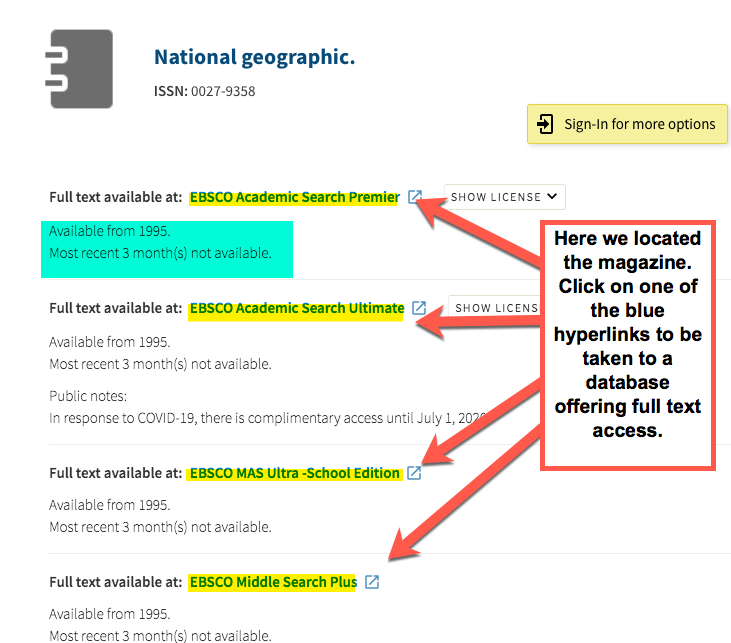 """An image of the results from searching for the magazine National Geographic in the previous image.  Four databases that have full access to the magazine are shown.  There is a pop out box that reads, """"Here we located the magazine. Click on one of the blue hyperlinks to be taken to a database offering full text access."""""""