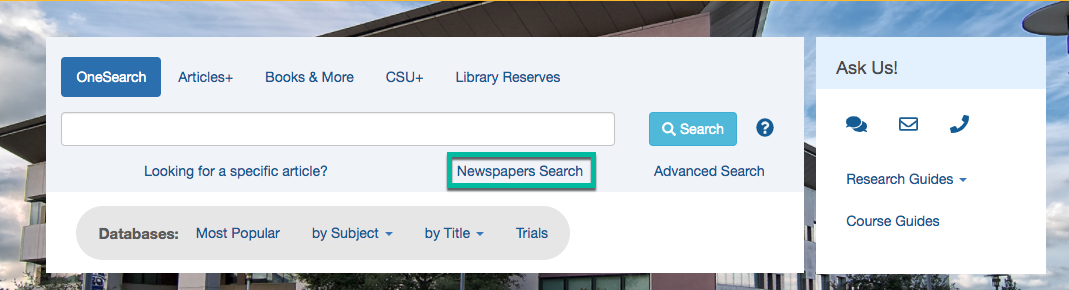 CSUSM Library Homepage with a green box around Newspapers Search