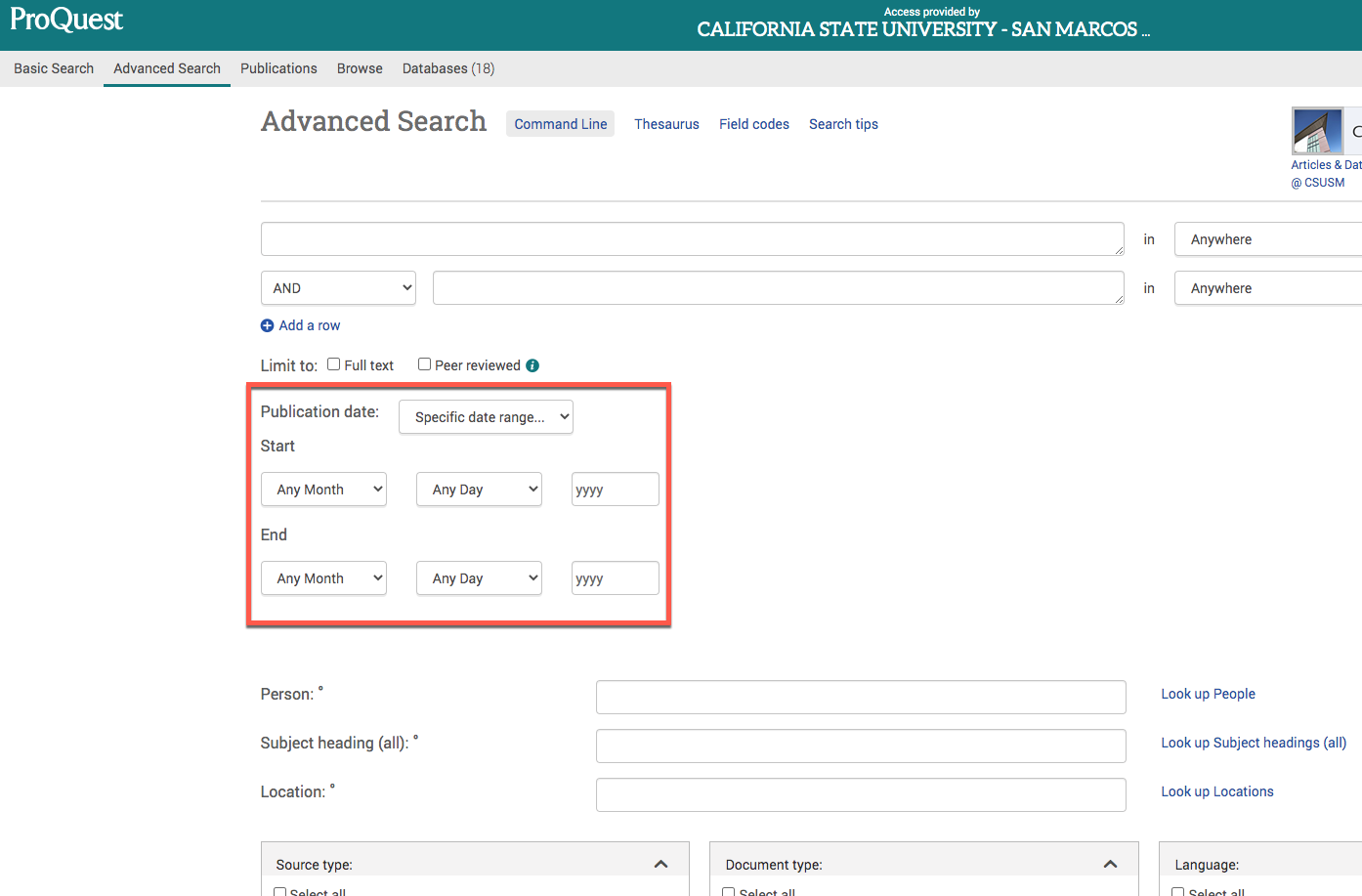 ProQuest Database advanced search with red box around date range