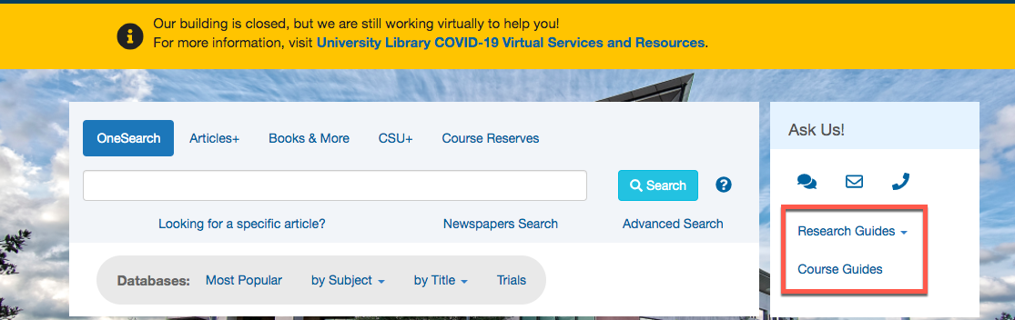 A picture of the CSUSM Library homepage with a box around the Course Guides and Research Guides links.