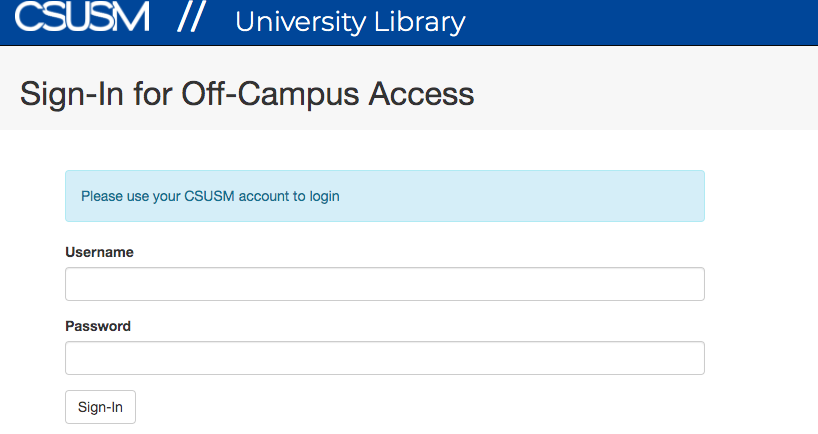 A screenshot of the Sign-In for Off-Campus Access prompt