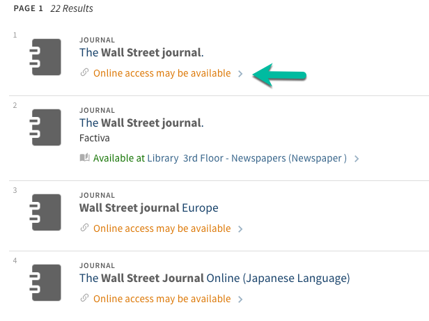 A list of journals with the title Wall Street Journal.