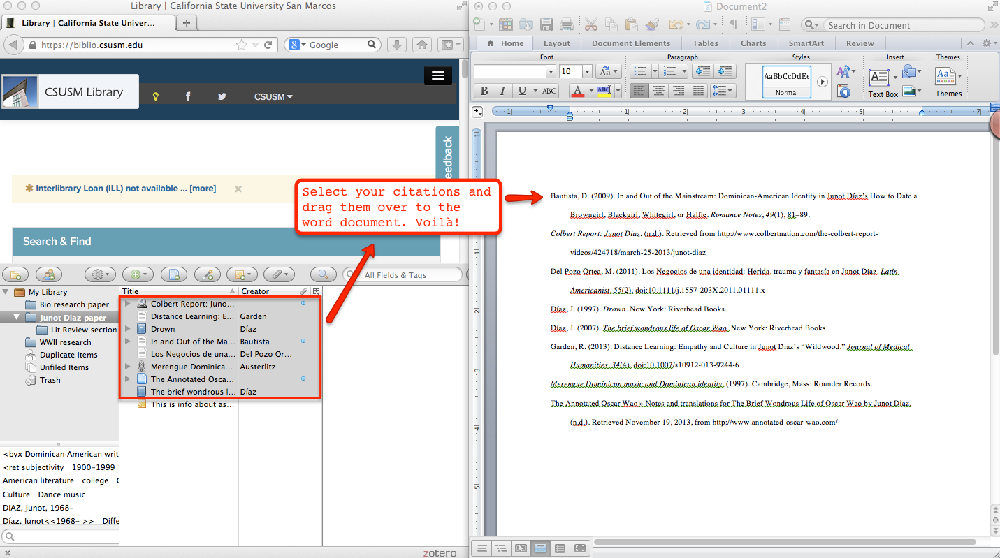 Shows how to drag the citations into the document.