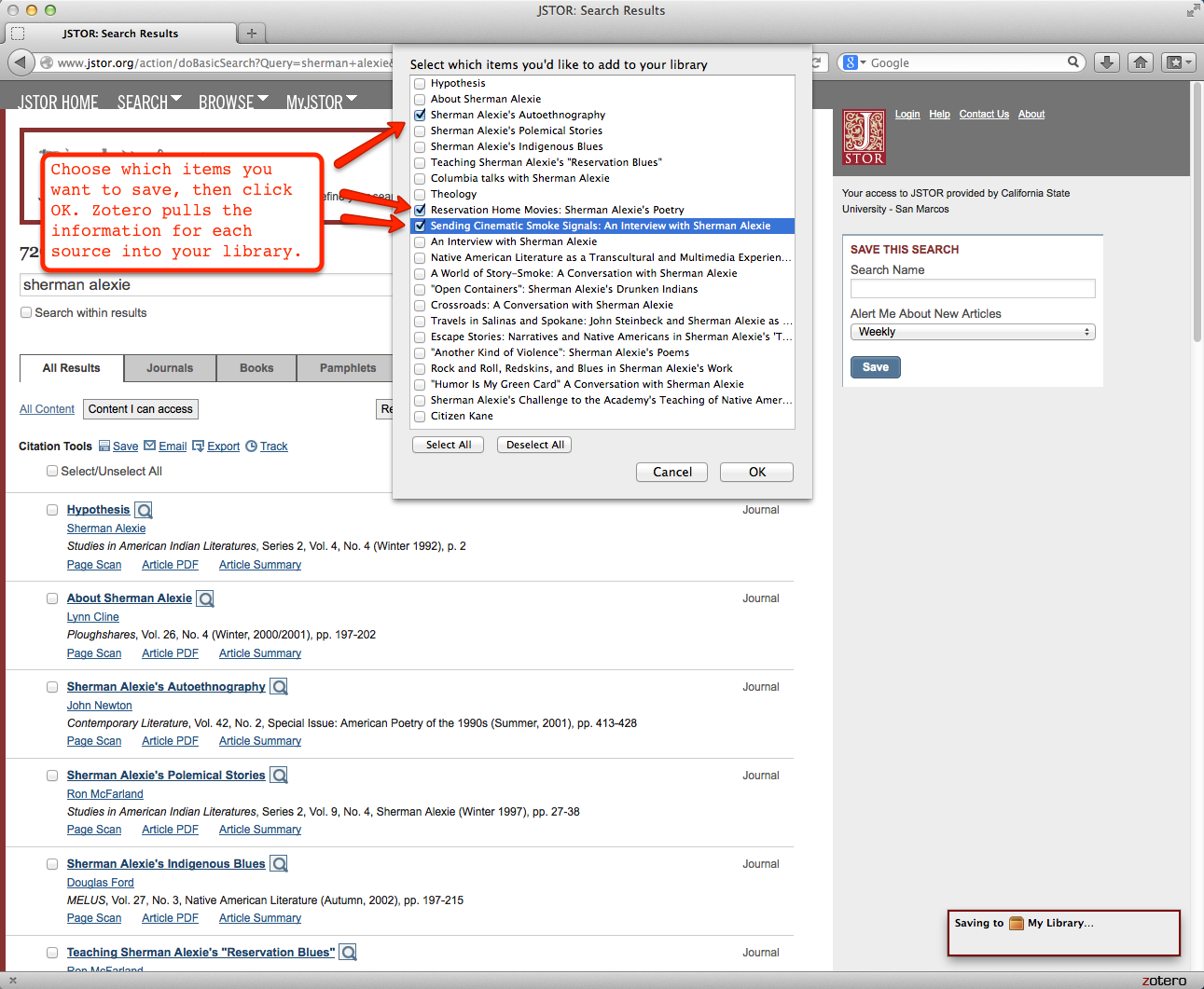 The screen in Zotero where you get to choose which items you want to save.
