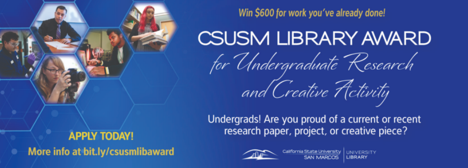 Banner for CSUSM Library Research Award with images of students doing research