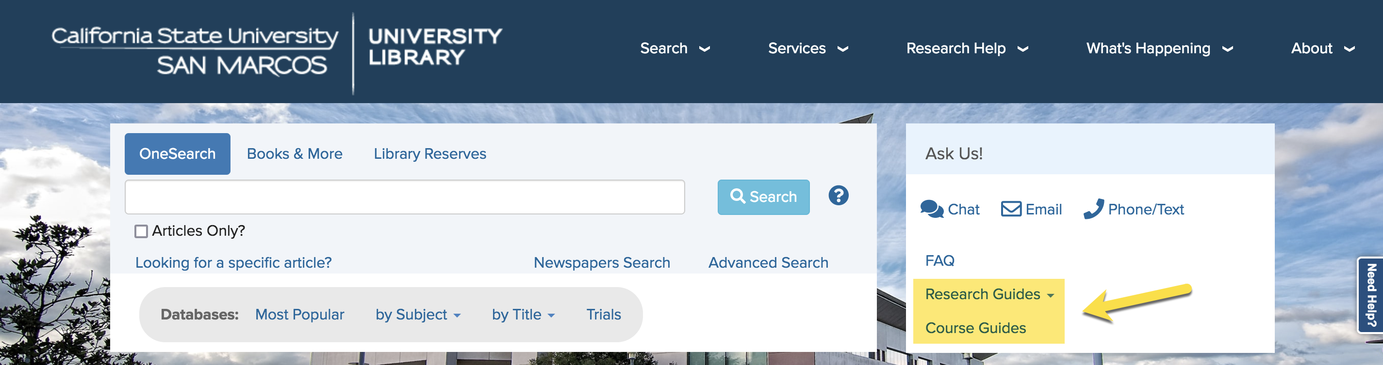 Library homepage with research guides and course guides highlighted