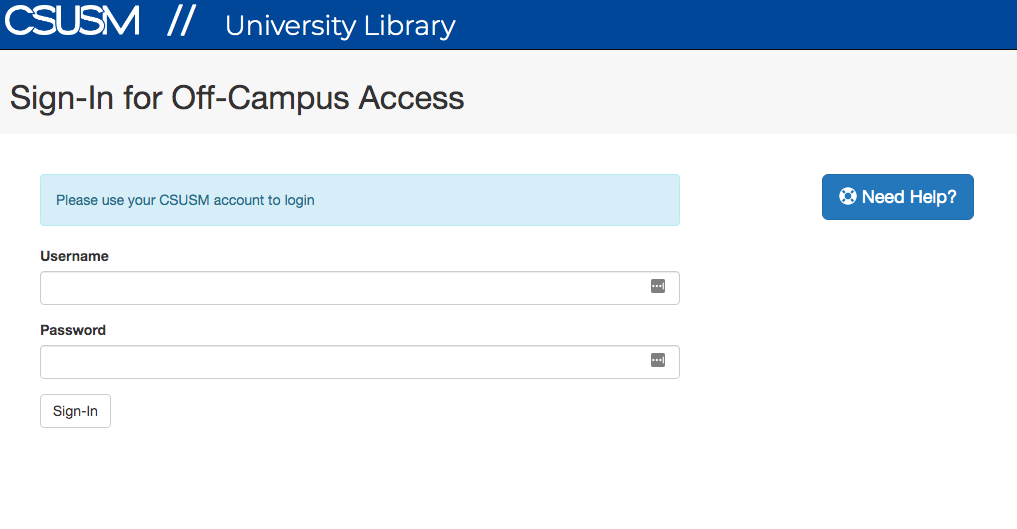 "An image showing the CSUSM University Library's sign-in page with text that reads ""Sign-In for Off-campus access"" and shows two input fields for the username and password"