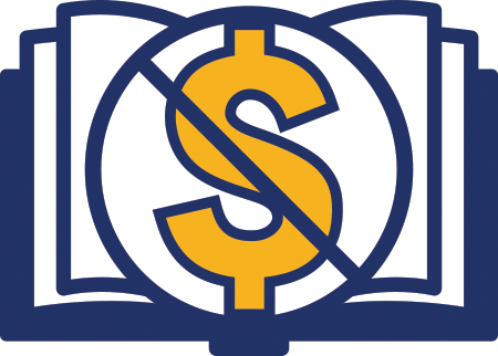 The Zero-cost course materials symbol is an Image of book that features a dollar sign that has been crossed out.