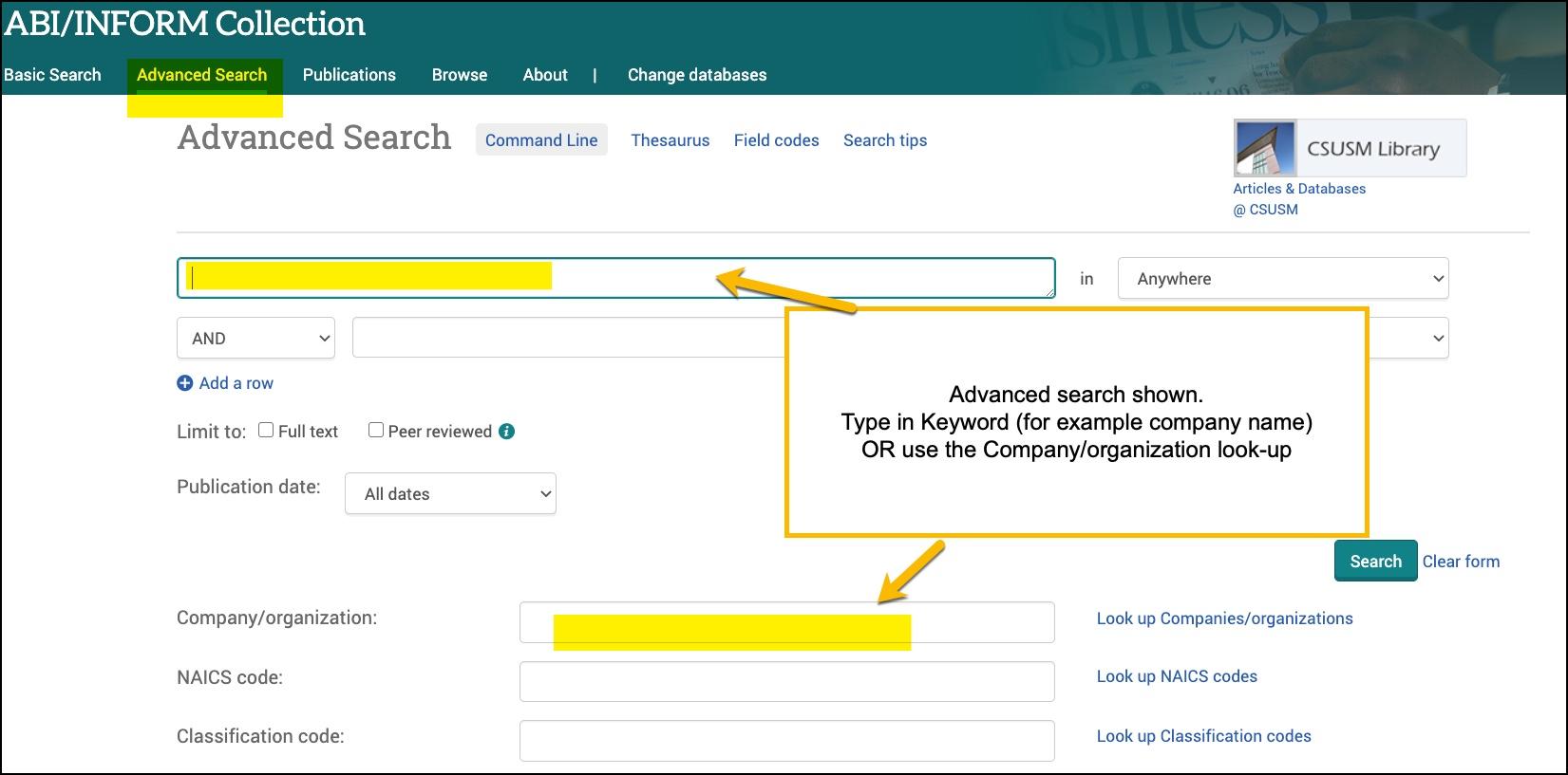 Screenshot ABI/Inform advanced search showing keyword box or use of company lookup