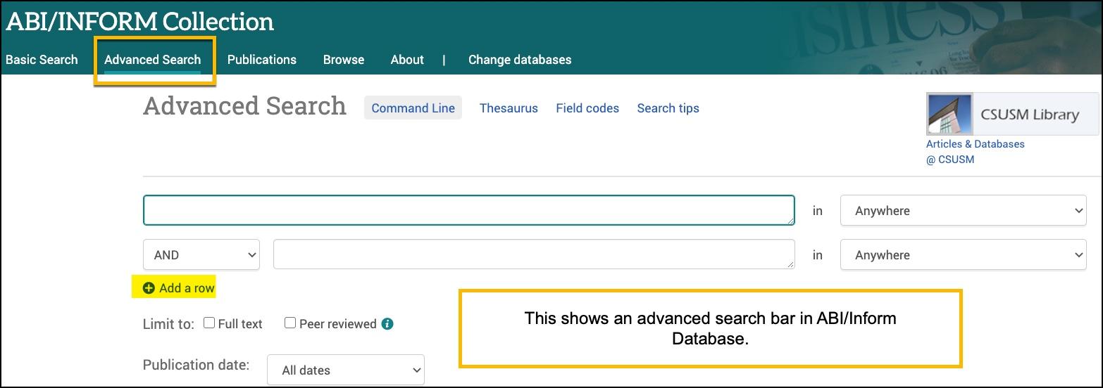 Advanced search screen for ABI/Inform