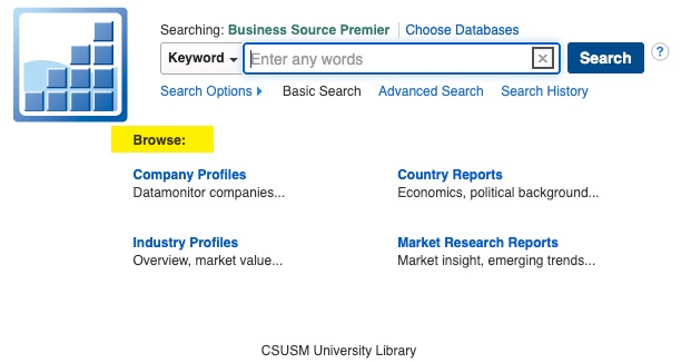 Business Source Premier search bar highlight on browse below search bar