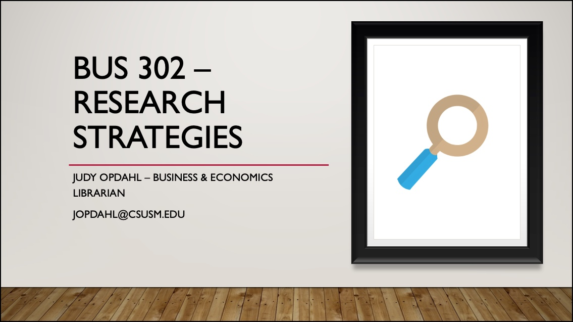 Image of PowerPoint Slide for BUS 302 search strategies