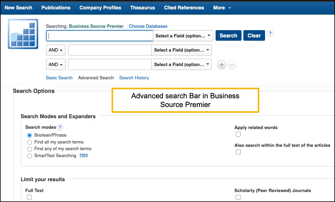 Image of advanced search screen in Business Source Premier