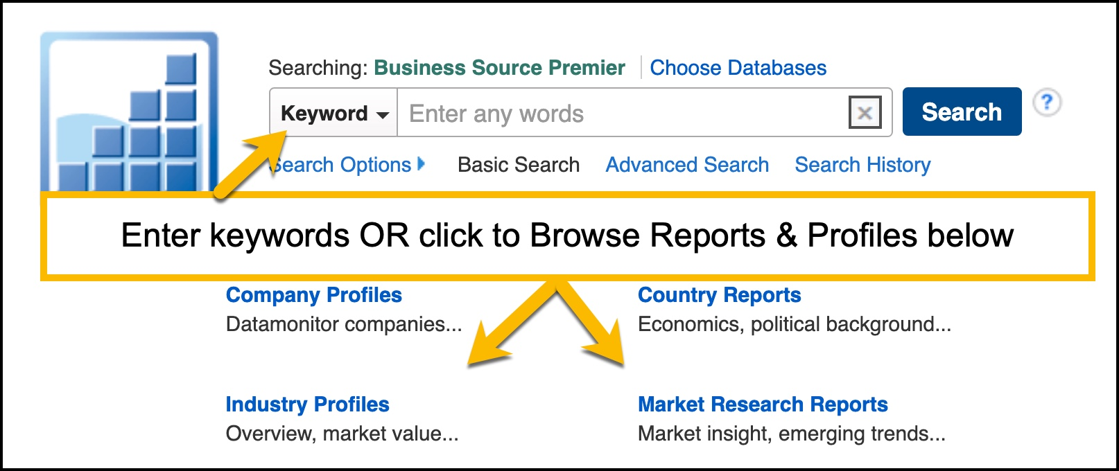 Interface for Business Source Premier with arrows showing browsing reports OR basic keywroding