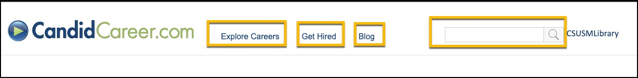 Image of Candid Career homepage circled are ways to navigate. Explore careers, blogs, enter keyword
