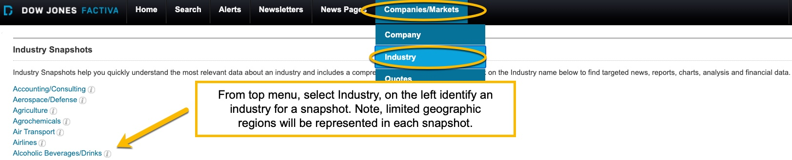 Image of Factiva top search menu circle on company