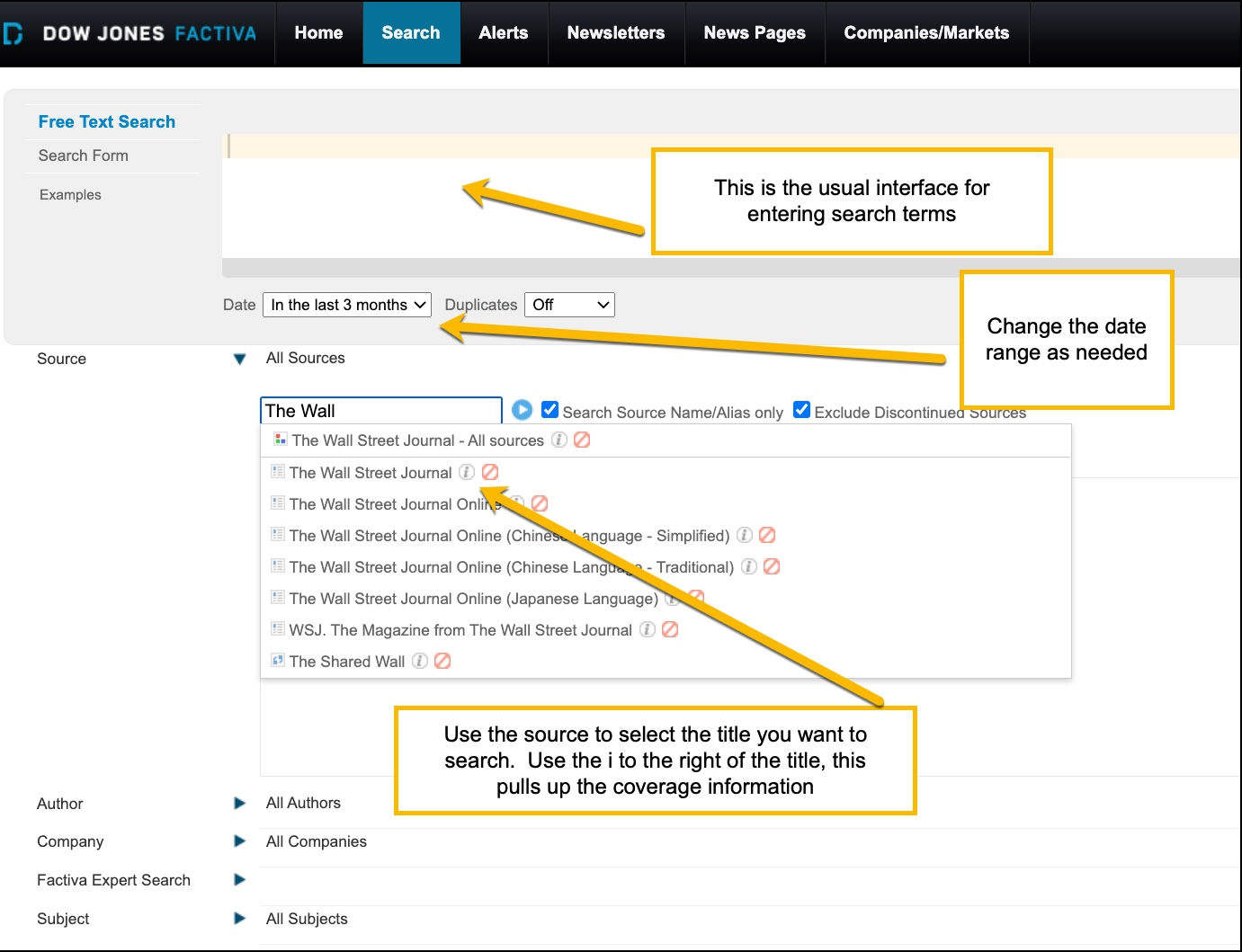 Screen shot of Factiva interface showing selecting of Wall street Journal as a source