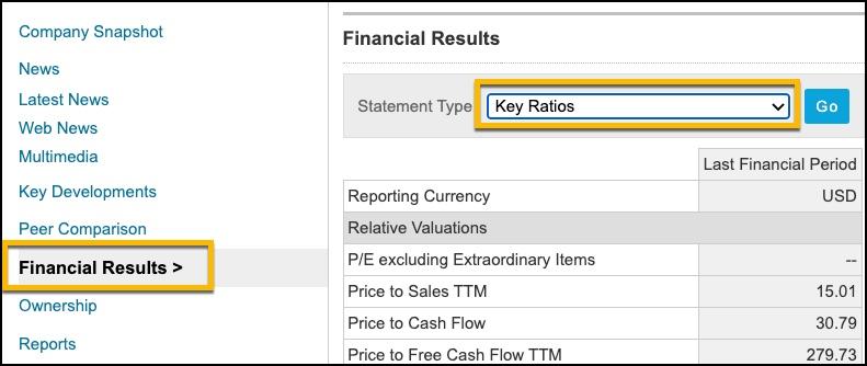 Screenshot of company snapshot highlight on financial results