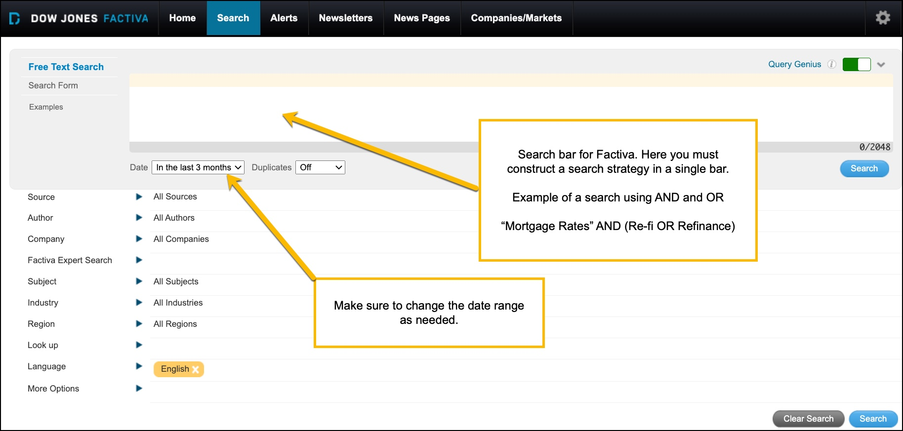 Image of Factiva's search builder