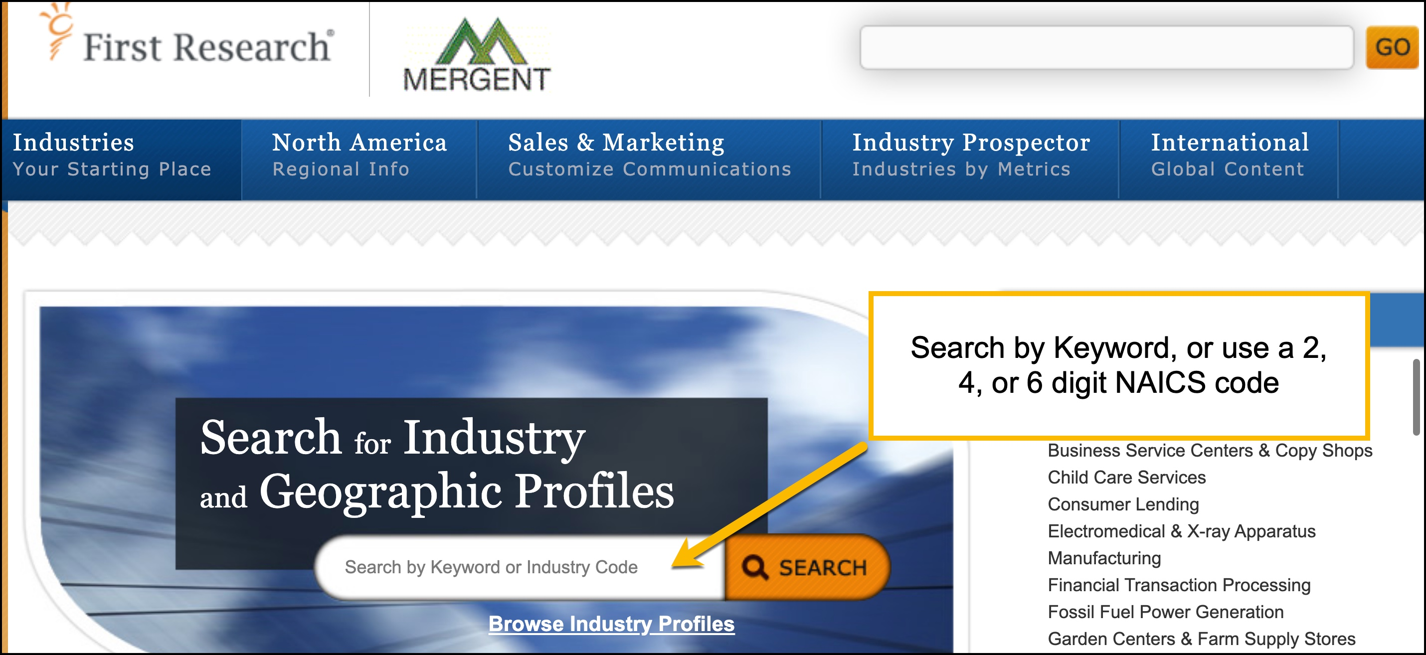 Screenshot of FirstResearch by Mergent's keyword search bar