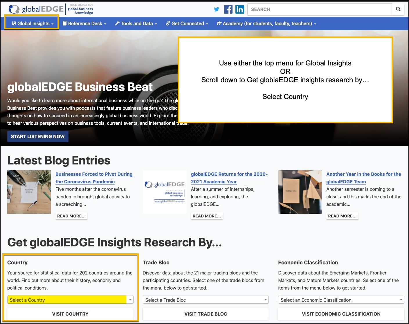 Global Edge Database using top navigation for insights by country