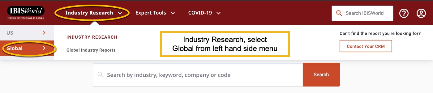 IBISWorld Interface showing need to select industry research and then Global from left hand menu