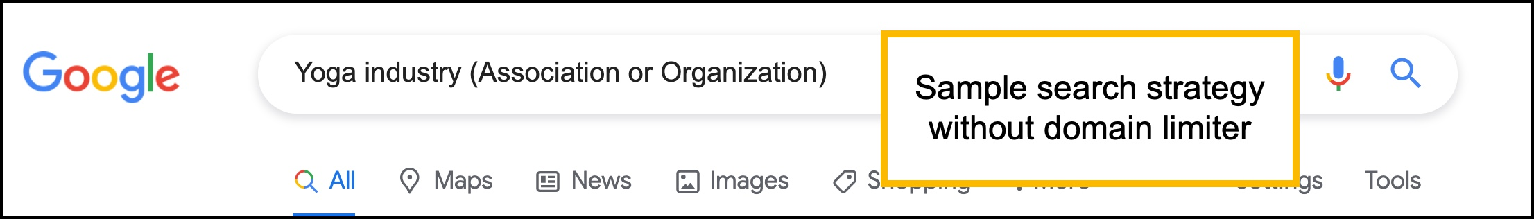Google search strategy for an association or organization