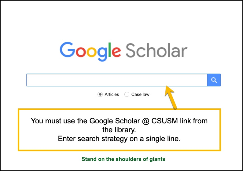 screenshot of Google Scholar @ CSUSM search bar