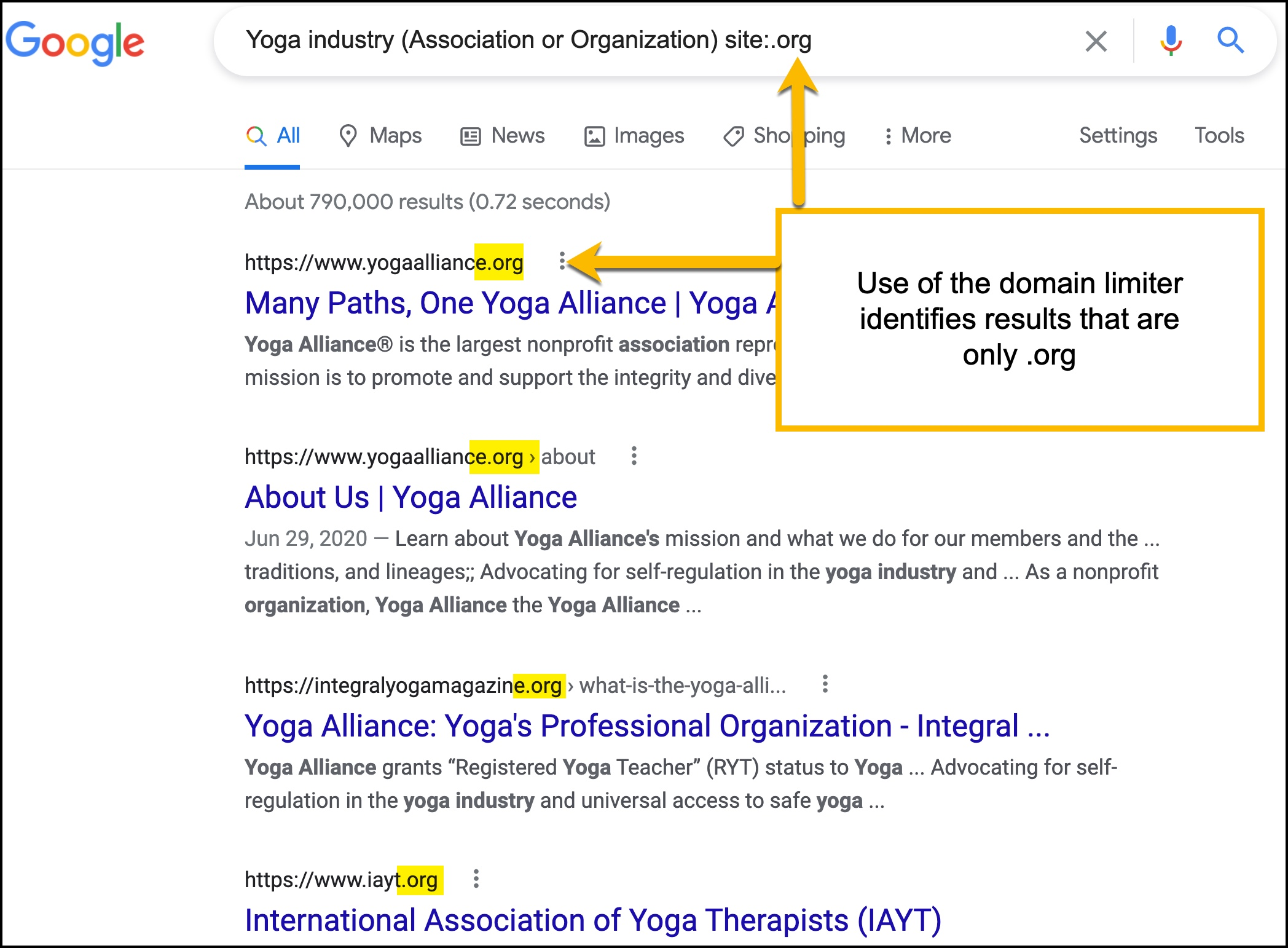Image of Google search using a domain limiter for .org