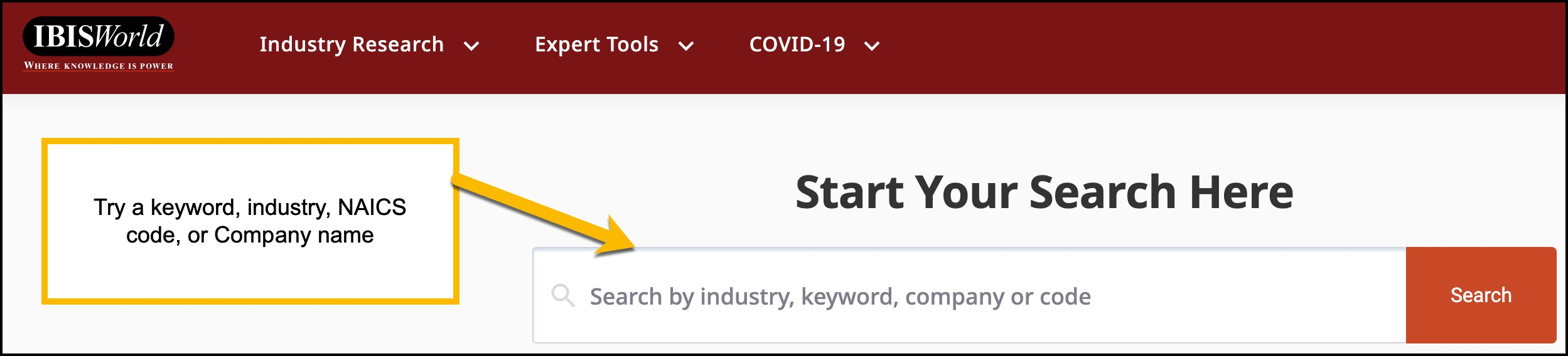 Screenshot of basec search bar for IBISWorld