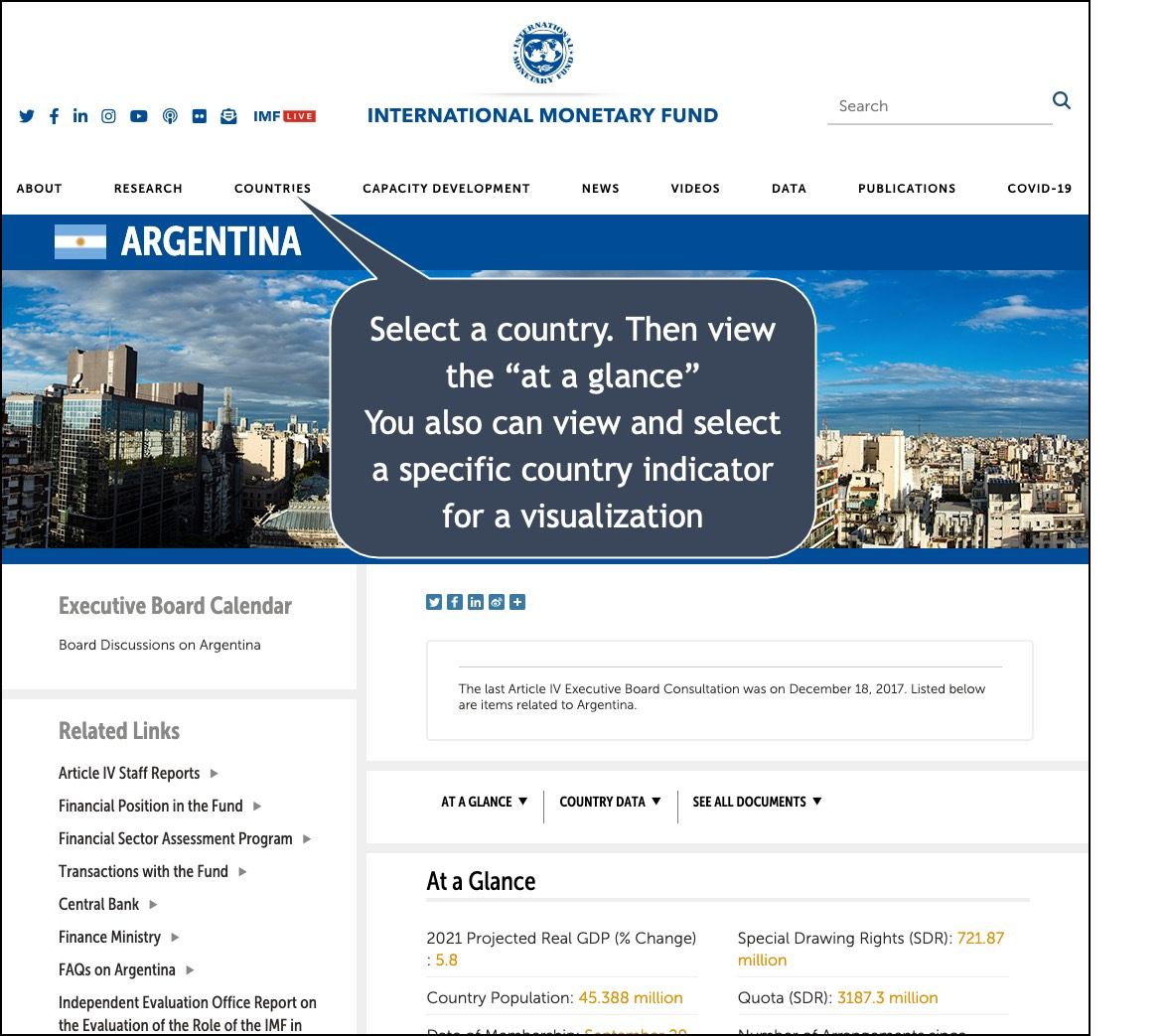 Image of IMF search on a country, shown is argentina
