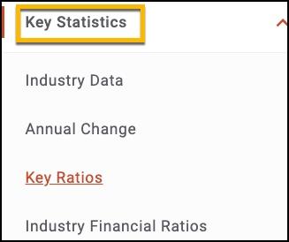 screen shot of Industry Report menu highlighting Key statistics