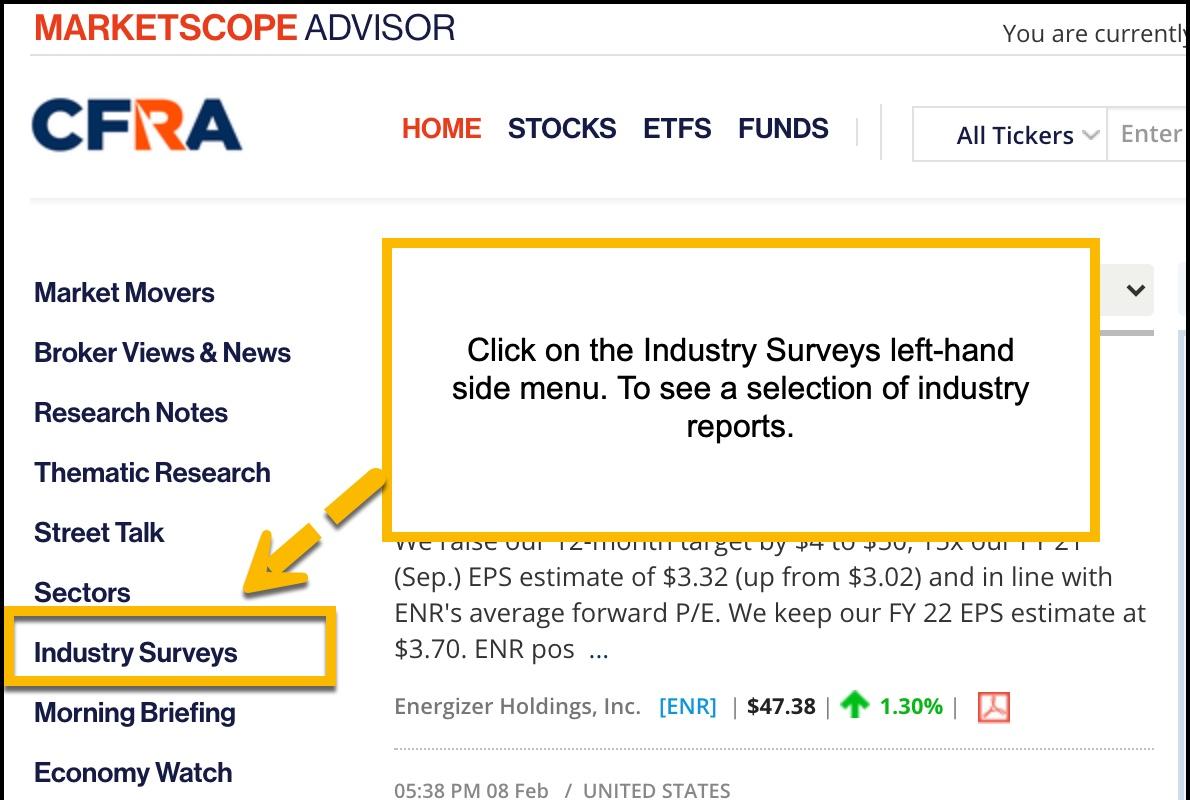 Image of MarketScope Advisor interface highlighting industry surveys