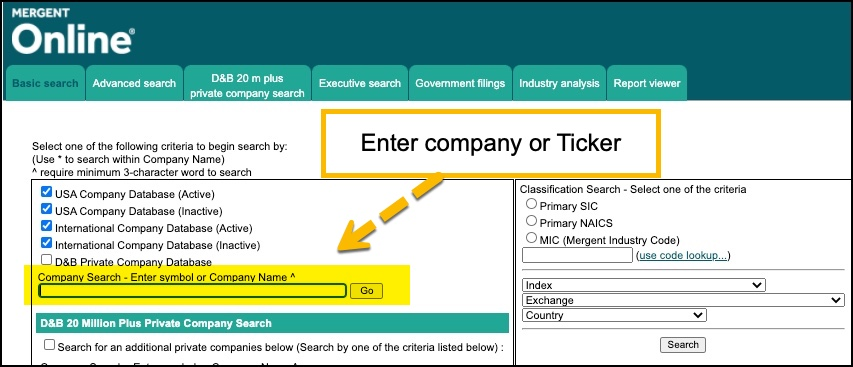 Mergent screenshot of main menu for searching a public US or international company