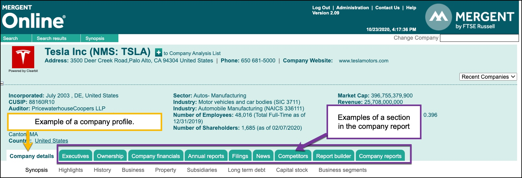 Screenshot of top level menu to a company report from Mergent Online