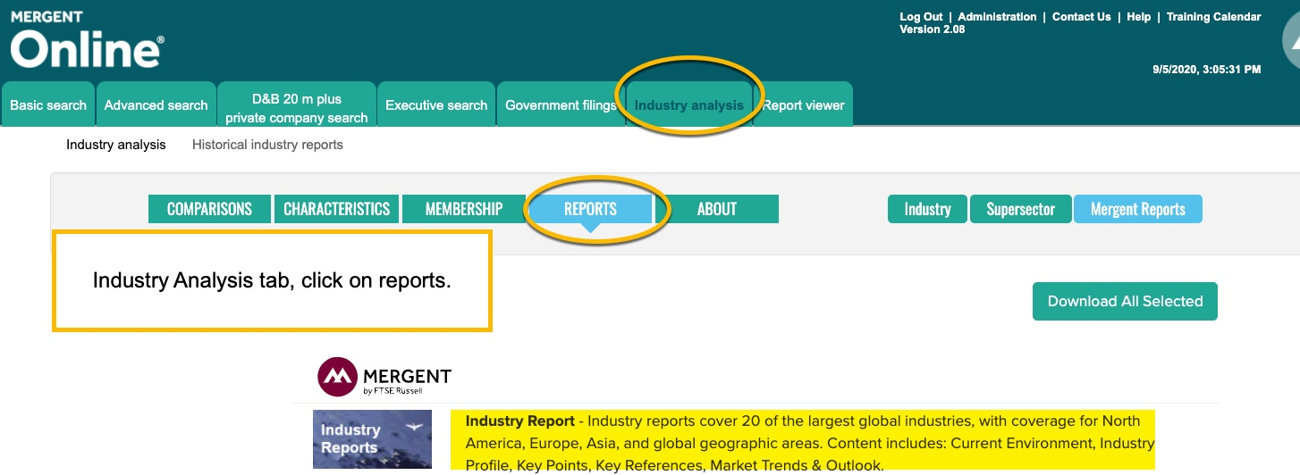 Screenshot of industry search using Mergent