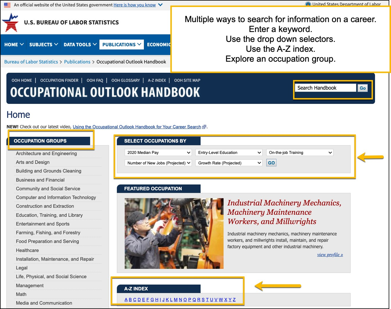 Image of occupational outlook handbook landing page. Highlighted are spaced to enter a keyword, search by dropdown, explore a career.