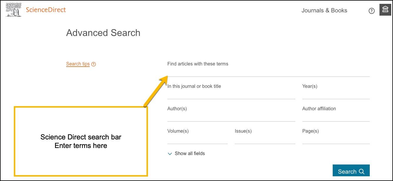 Screenshot of ScienceDirect advanced search bar