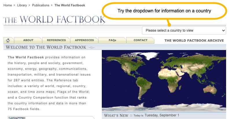 Worldfactbook menu with dropdown to select a country