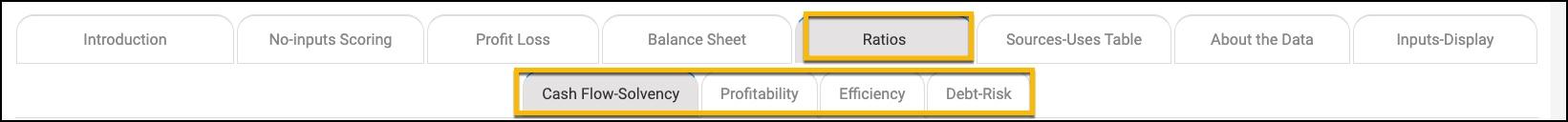 Screenshot of Industry Financial report menu Highlight on ratios tab