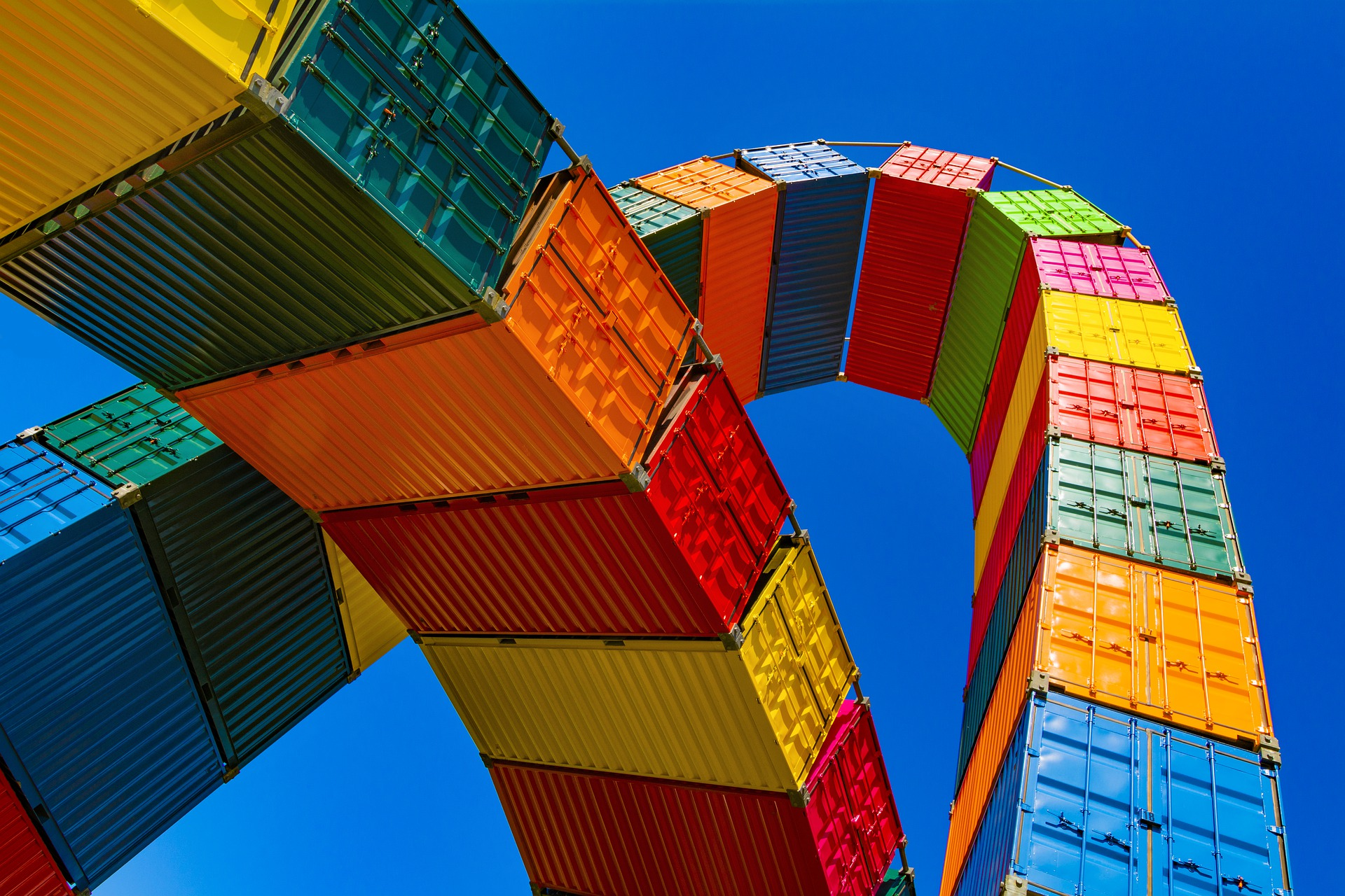 shipping containers forming an arch