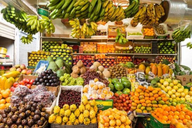 Tropical market stall