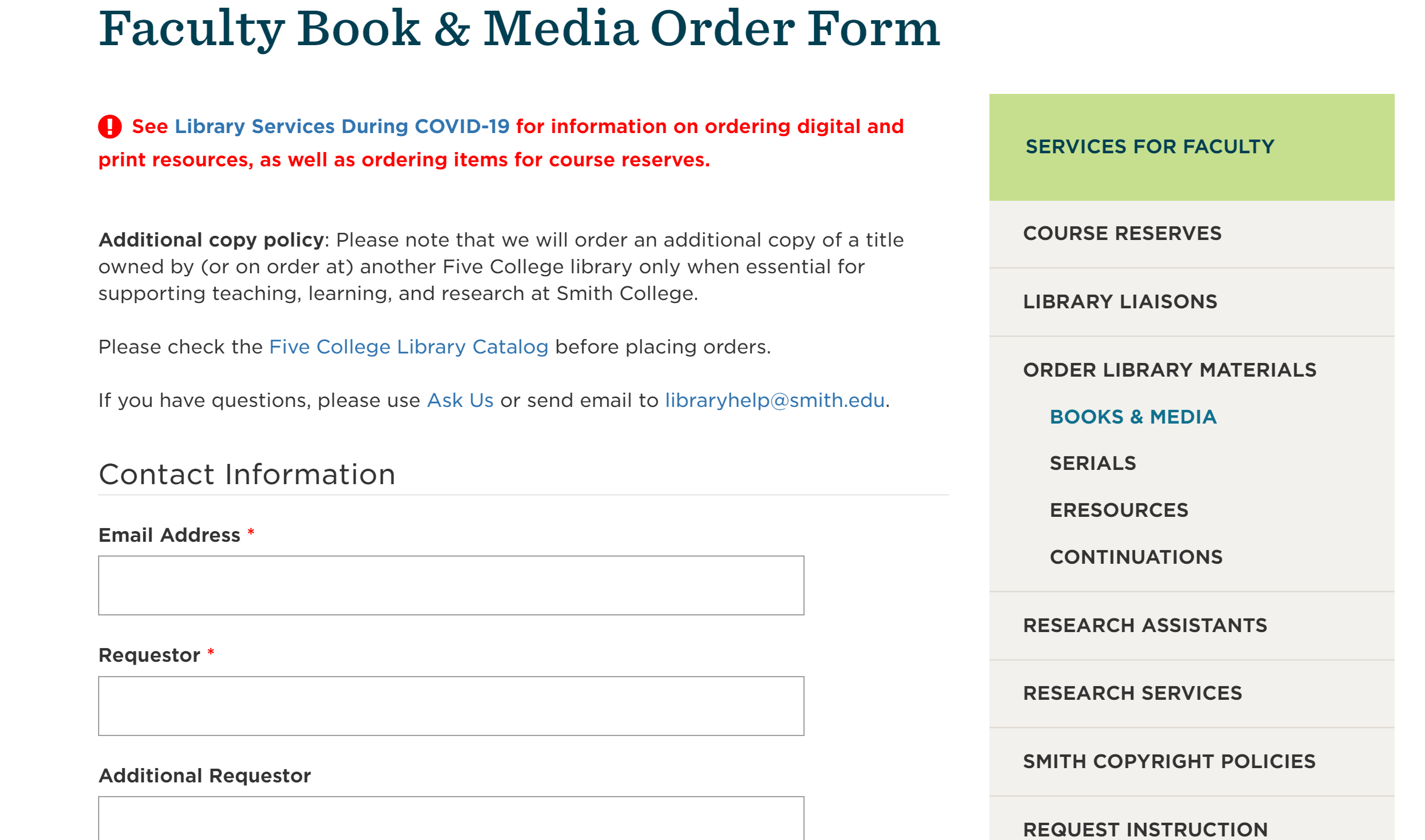 Screenshot of the faculty order form