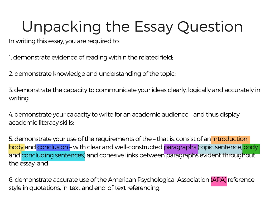 Unpacking the essay question