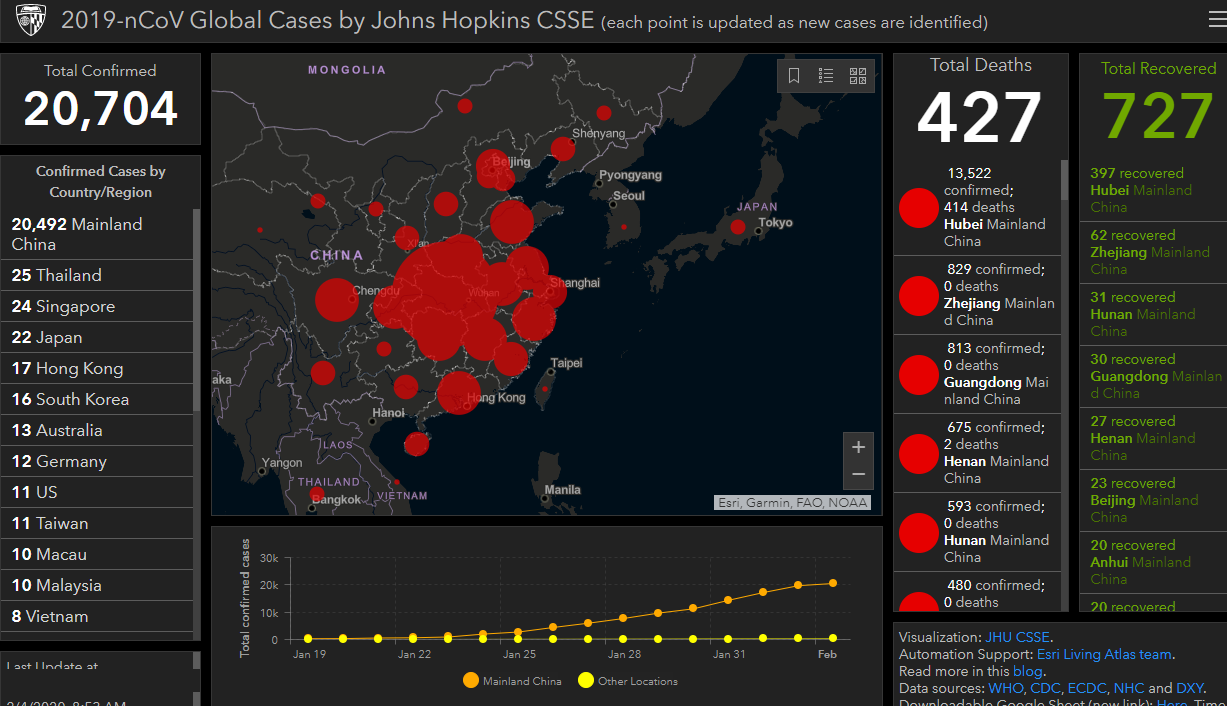 Screenshot of Johns Hopkins interactive coronavirus map.