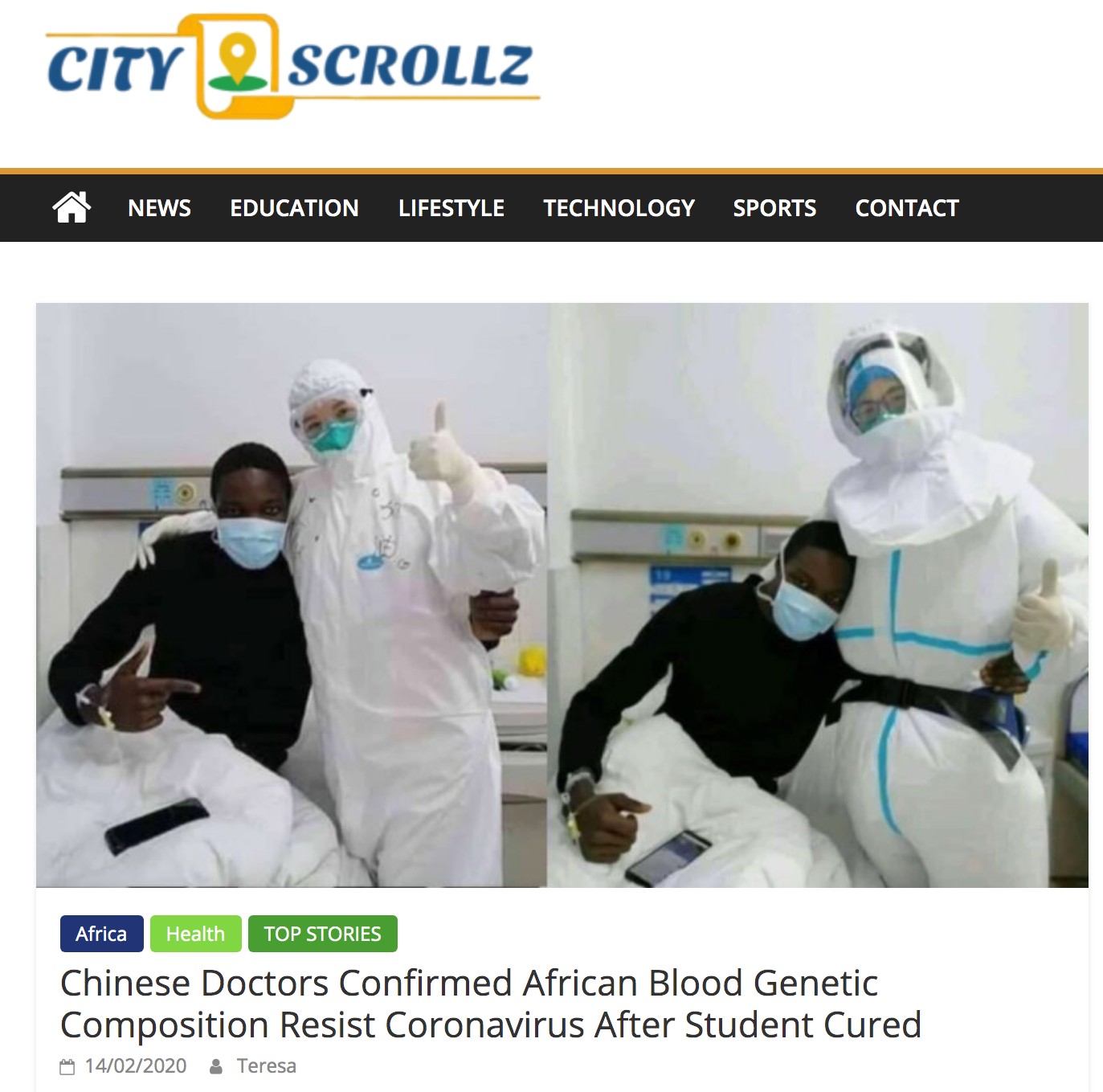 Article suggesting African blood resists the coronavirus
