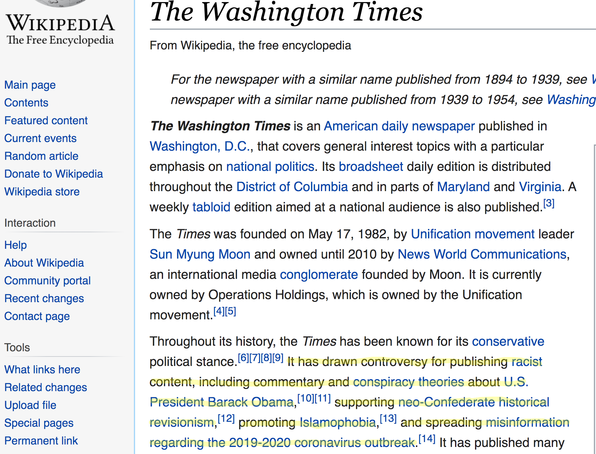 Wikipedia entry for the Washington Times