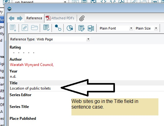 Screenshot of Endnote showing web site titles in the Title field