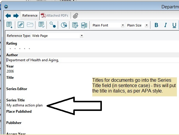 Screenshot of Endnote showing title of documents in the Series Title field