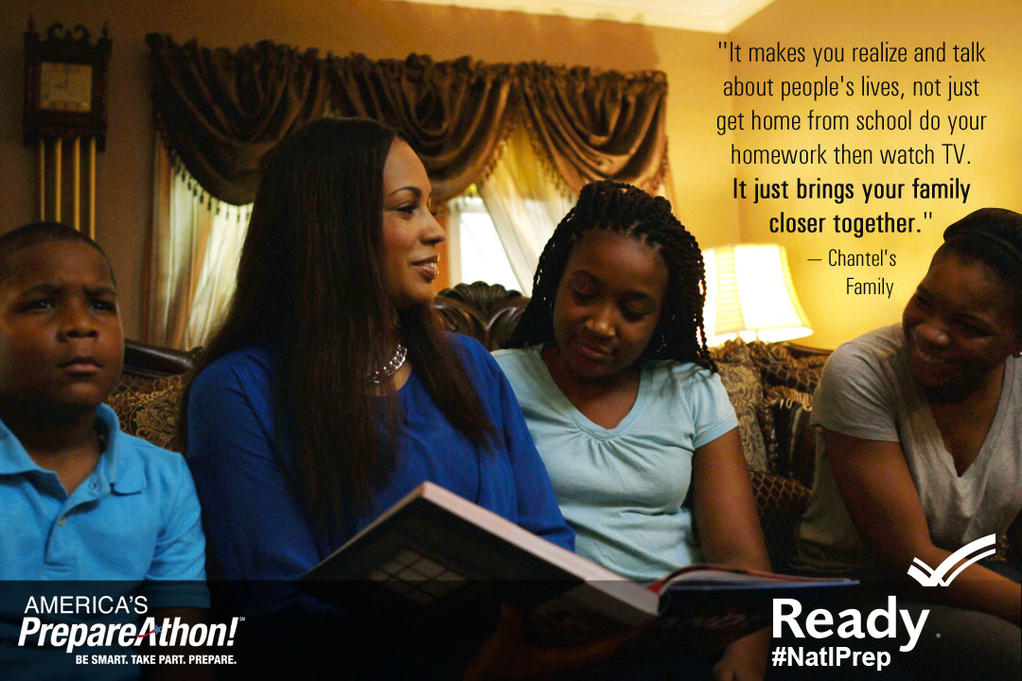 national preparedness month image with black family